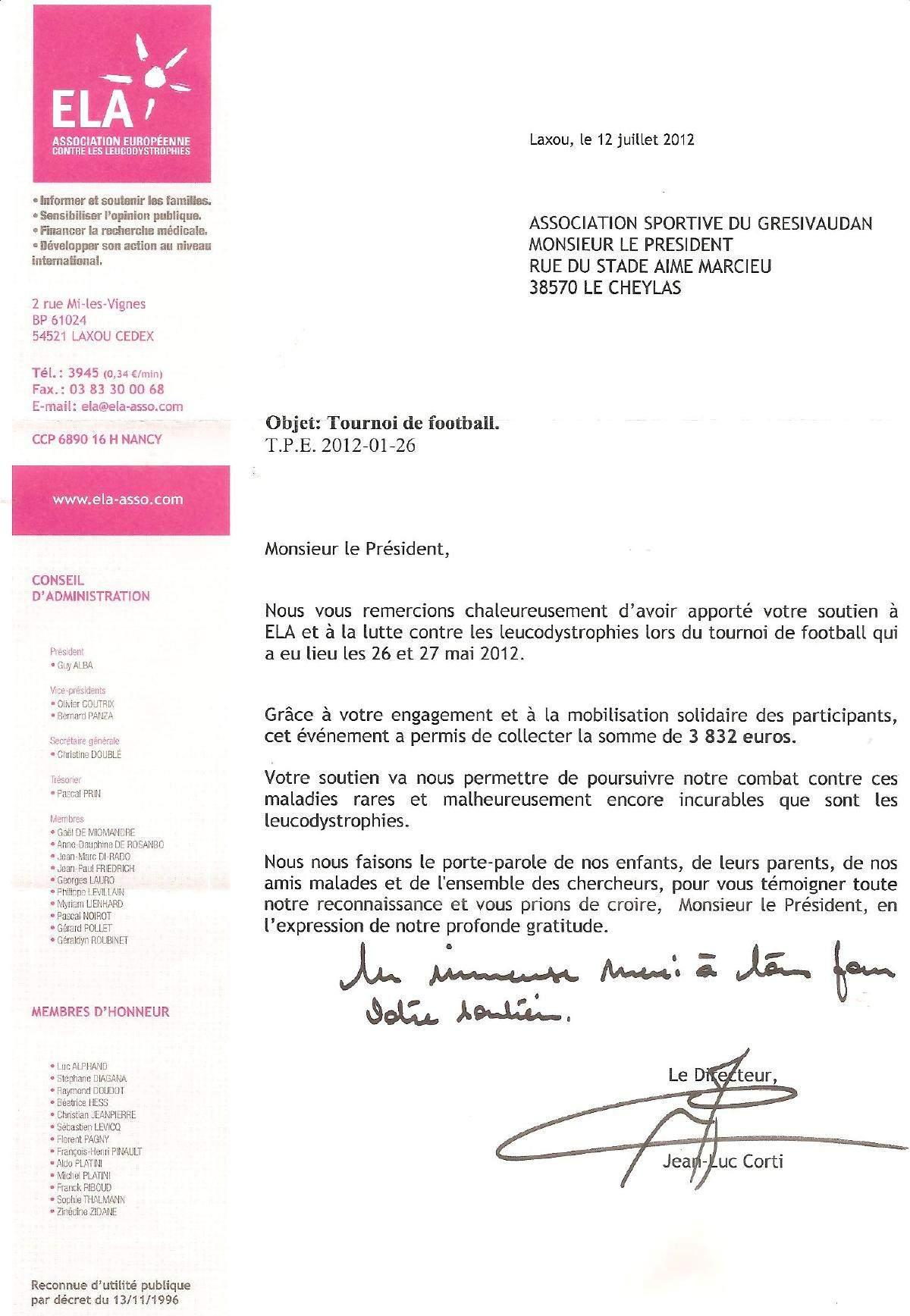 Actualité   LETTRE DE REMERCIEMENT DE L'ASSOCIATION ELA   club