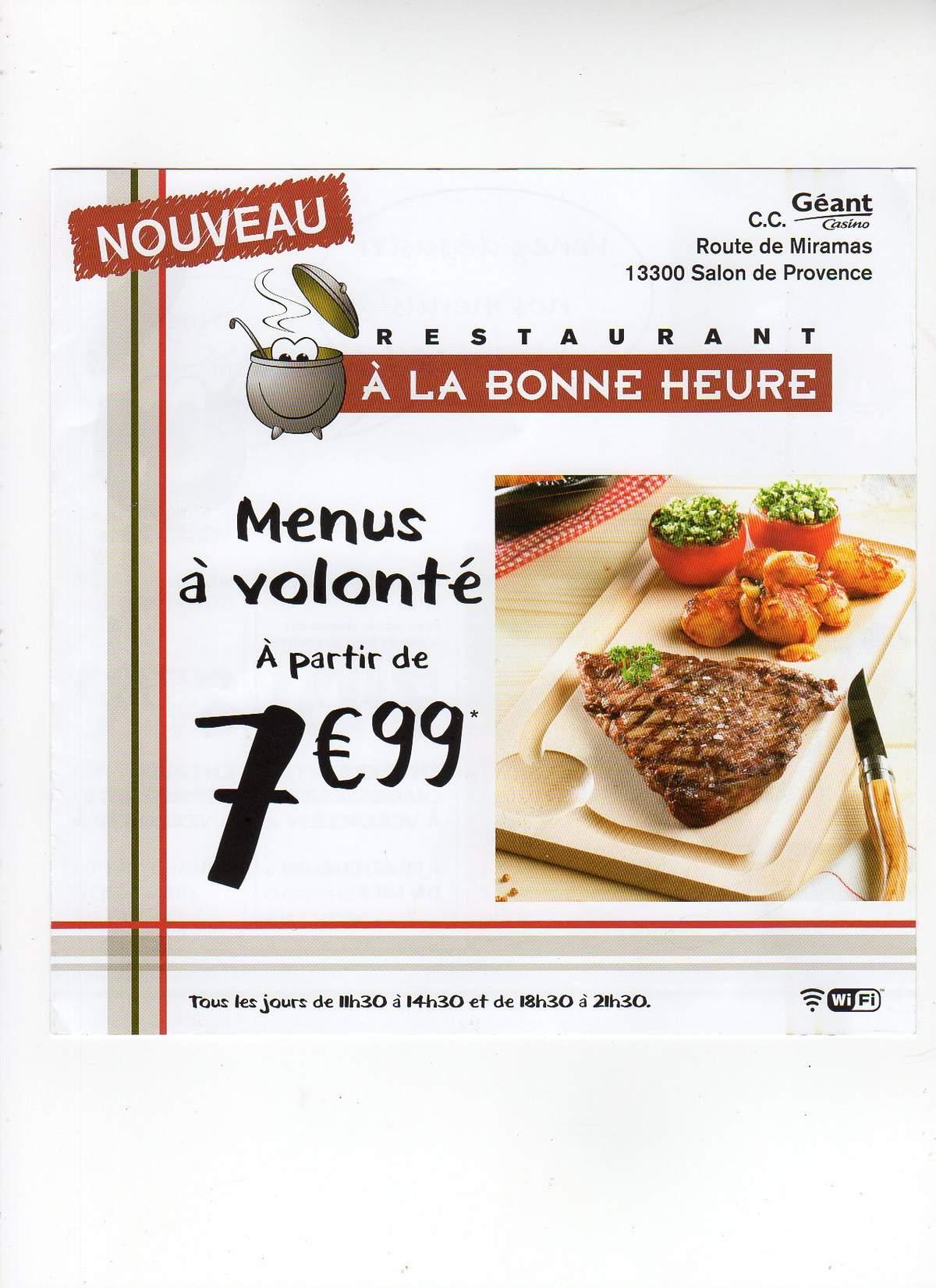 Restaurant a la bonne heure 13300 salon de provence club for Meteo salon de provence heure par heure