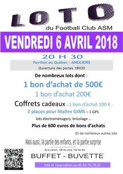 VENDREDI 6 AVRIL LOTO DU FC ASM