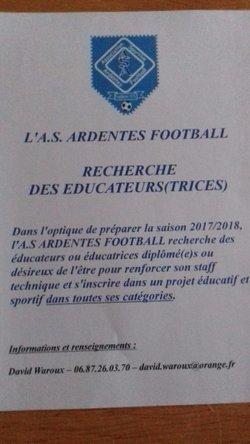 L'ASA recherche des éducateurs !!! - A.S.ARDENTES