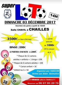 Loto du Club le Dimanche 3 Décembre Salle Chavil à CHAILLES - ASCC 99 - CHAILLES CANDE