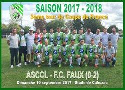 ASCCL - FC FAUX (0-2) 3ème tour de Coupe de France - ASCCL