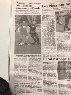 Article Journaux Coupe de France et Coupe de Lorraine 2017/ 2018 - AS  COTEAUX