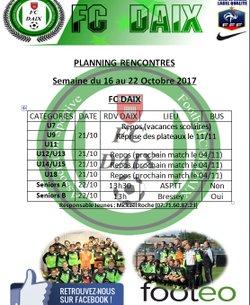 Planning du 16 au 22 Octobre
