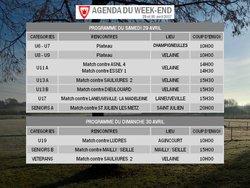 AGENDA DU WEEK-END 29-30 AVRIL
