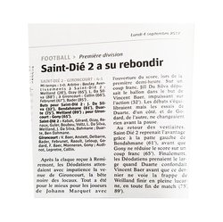 ARTICLE DU MATCH DE LA PREMIERE CONTRE SAINT DIE