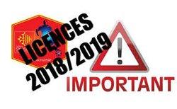 Permanence LICENCES  2018-2019  Samedi 30 JUIN 2018