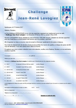Inscription Challenge Jean René LAVOGIEZ 2018