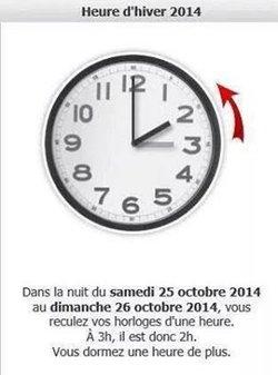 """attention, """"HORAIRE"""" le 25 et 26/10/2014"""