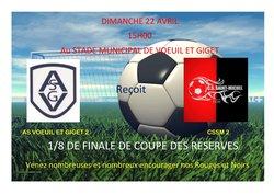 Dimanche 22 Avril, 1/8 de Finale de la COUPE des RESERVES - C.S. ST MICHEL/CHARENTE