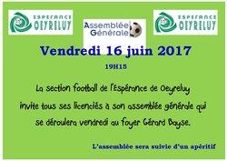 AG 19H15 - Vendredi 16 juin 2017 - Espérance de Oeyreluy