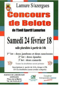 Concours de Belote de L'ESL samedi 24 février
