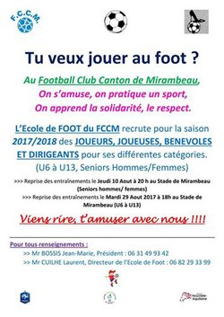 Préparation saison 2017/2018 - Football-Club du Canton de Mirambeau