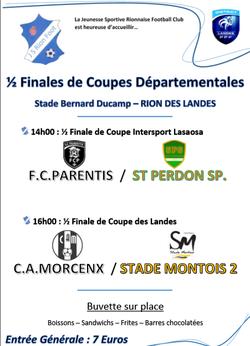 La JS RION FC est fière d'accueillir les 1/2 finales départementales !