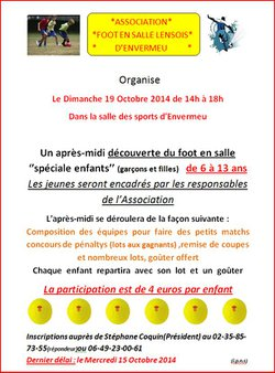 Organisation d'une journée spéciale enfants (6-13 ans) pour la découverte du foot en salle - Association Foot en salle Lensois d'Envermeu