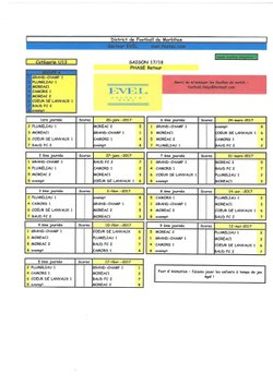 Calendrier U13 phase 2 - Groupement jeunes Coeur de Lanvaux