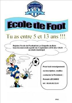 création d'une école de football à venir - Sport et Loisirs La Chapelle Du Bois