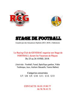 STAGE VACANCE 'S FOOT - R. C. GENERAC