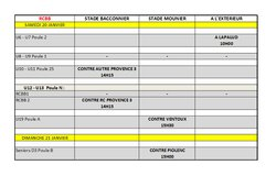 Calendrier des rencontres du week-end du 20 et 21 Janvier 2018 - RACING CLUB BLONDEL BOLLENE