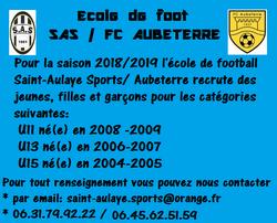 Ecole de foot SAS - AUBETERRE - SAINT-AULAYE SPORTS