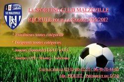 Le SPORTING CLUB MALZEVILLE recrute pour la Saison 2016/2017