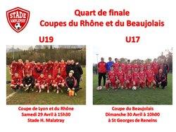Les U19 et les U17 en coupe de Lyon et du Rhône et en coupe du Beaujolais