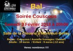 Bal de l'UAM Football Samedi 3 février 2018 à partir de 20h00 à la salle de la Closerie à Montreuil-Bellay.