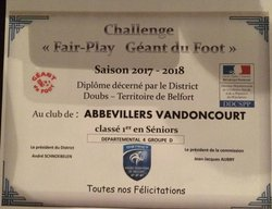DIPLOME FAIR PLAY SAISON 2017/2018  DISTRICT DOUBS-BELFORT - US  ABBEVILLERS-VANDONCOURT