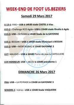 Week-end foot 29 et 30 Avril