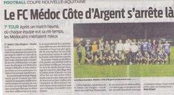 7 éme tour Coupe Nouvelle Aquitaine - F C Médoc côte d' Argent