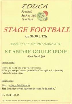 stage de football  les lundi 27 et mardi 28 octobre 2014