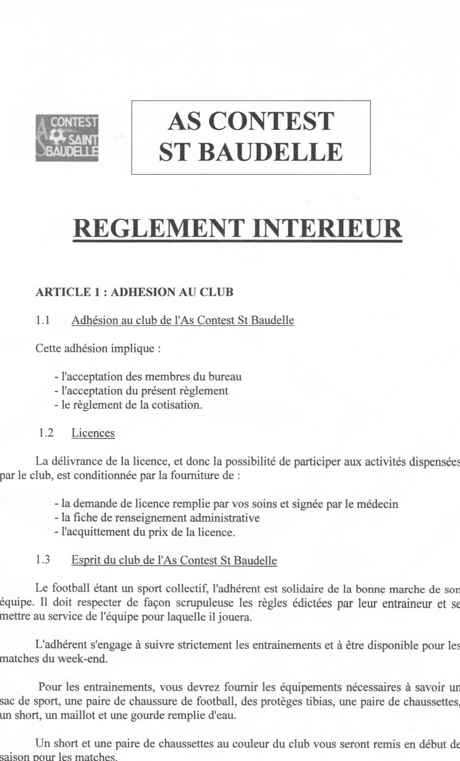Reglement interieur du club club football as contest st for Exemple de reglement interieur association