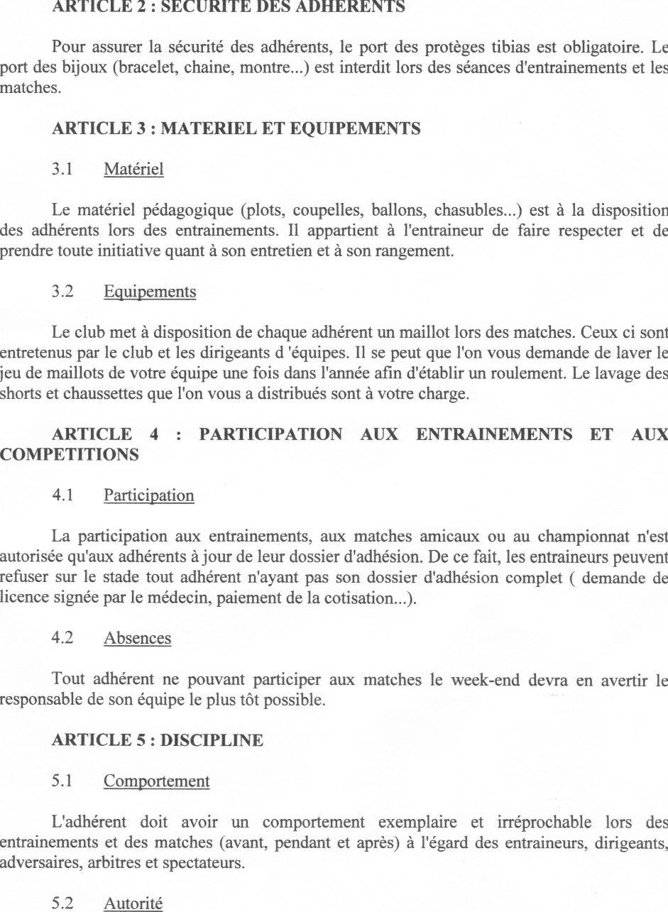 Reglement interieur du club club football as contest st for Reglement interieur auto ecole