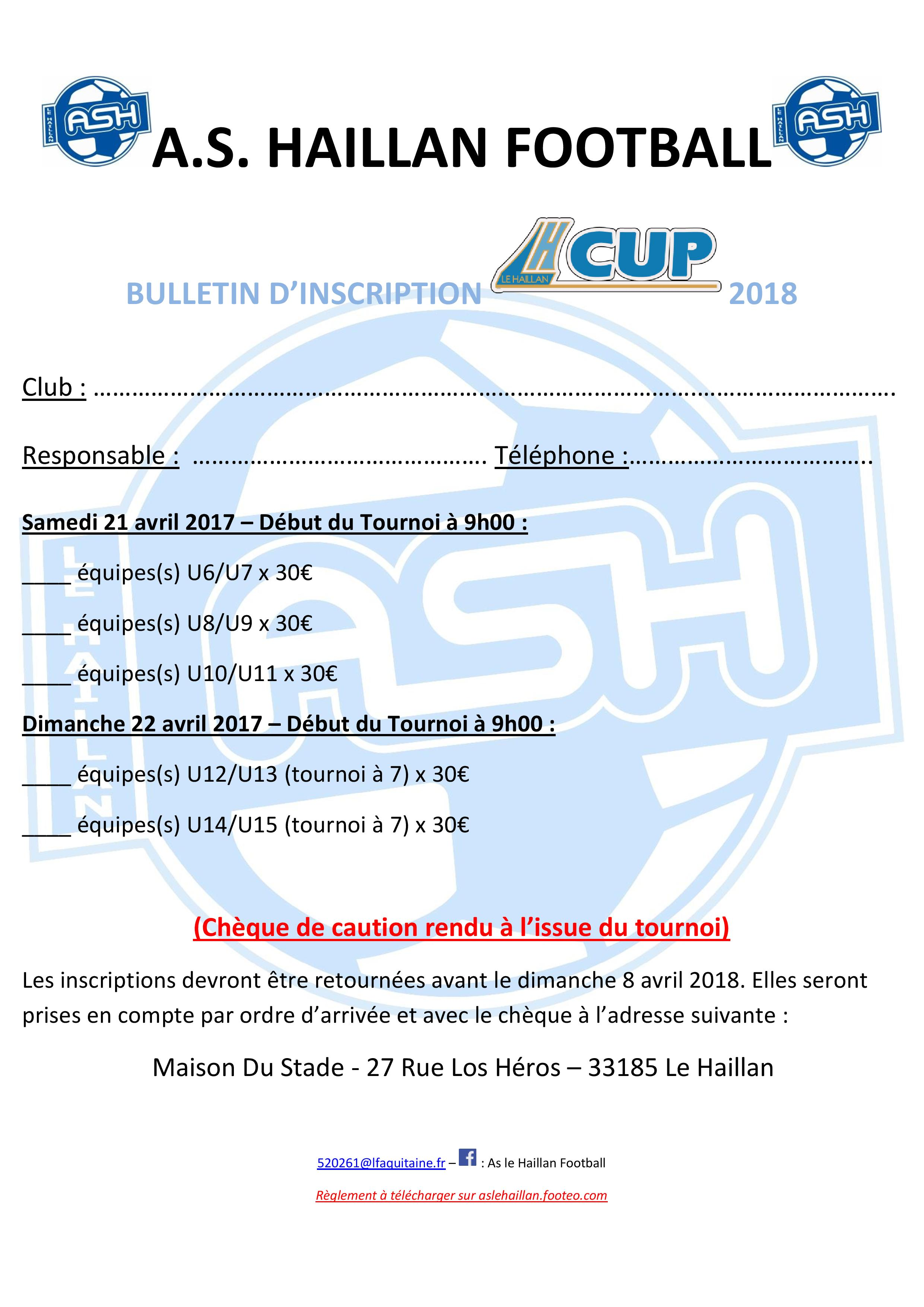 Bulletin d'inscription LH CUP 2018