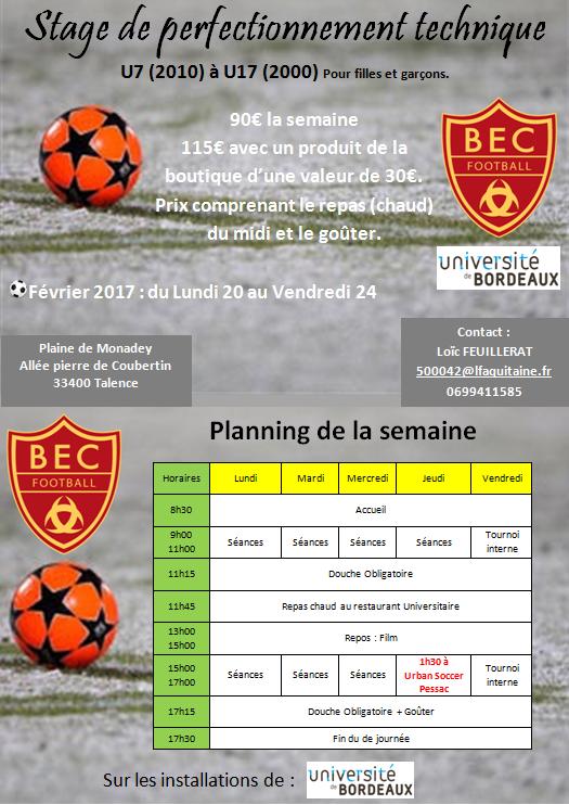 Actualit le bec stage foot vacances f vrier 2017 club football bordeaux etudiants club - Vacances fevrier 2017 bordeaux ...