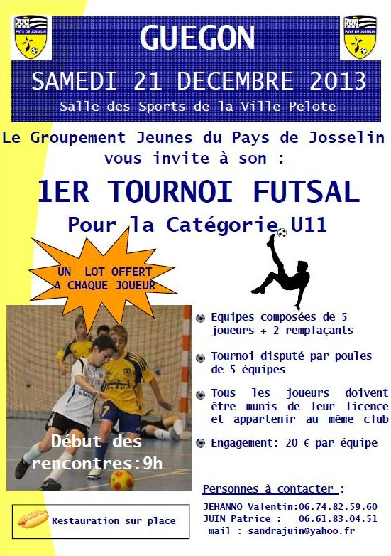 Affiche officielle du premier tournoi futsal U11 à Guégon du Groupement des Jeunes du Pays de Josselin