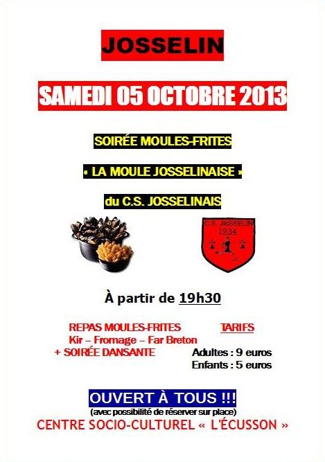 Affiche officielle de la première soirée moules-frites du C.S.J.