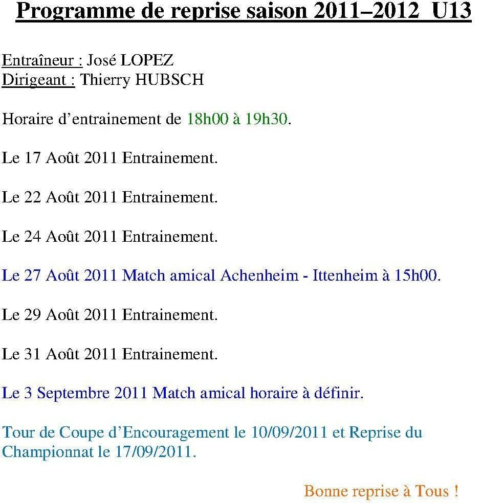 Programme de reprise U13 2011