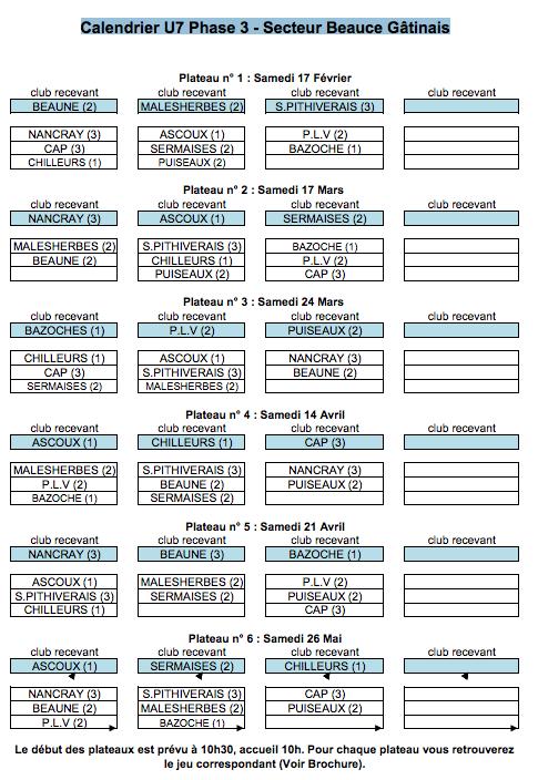 calendrier U7