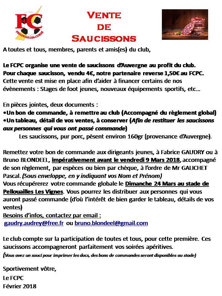 Vente saucissons au profit du FCPC Fev.2018