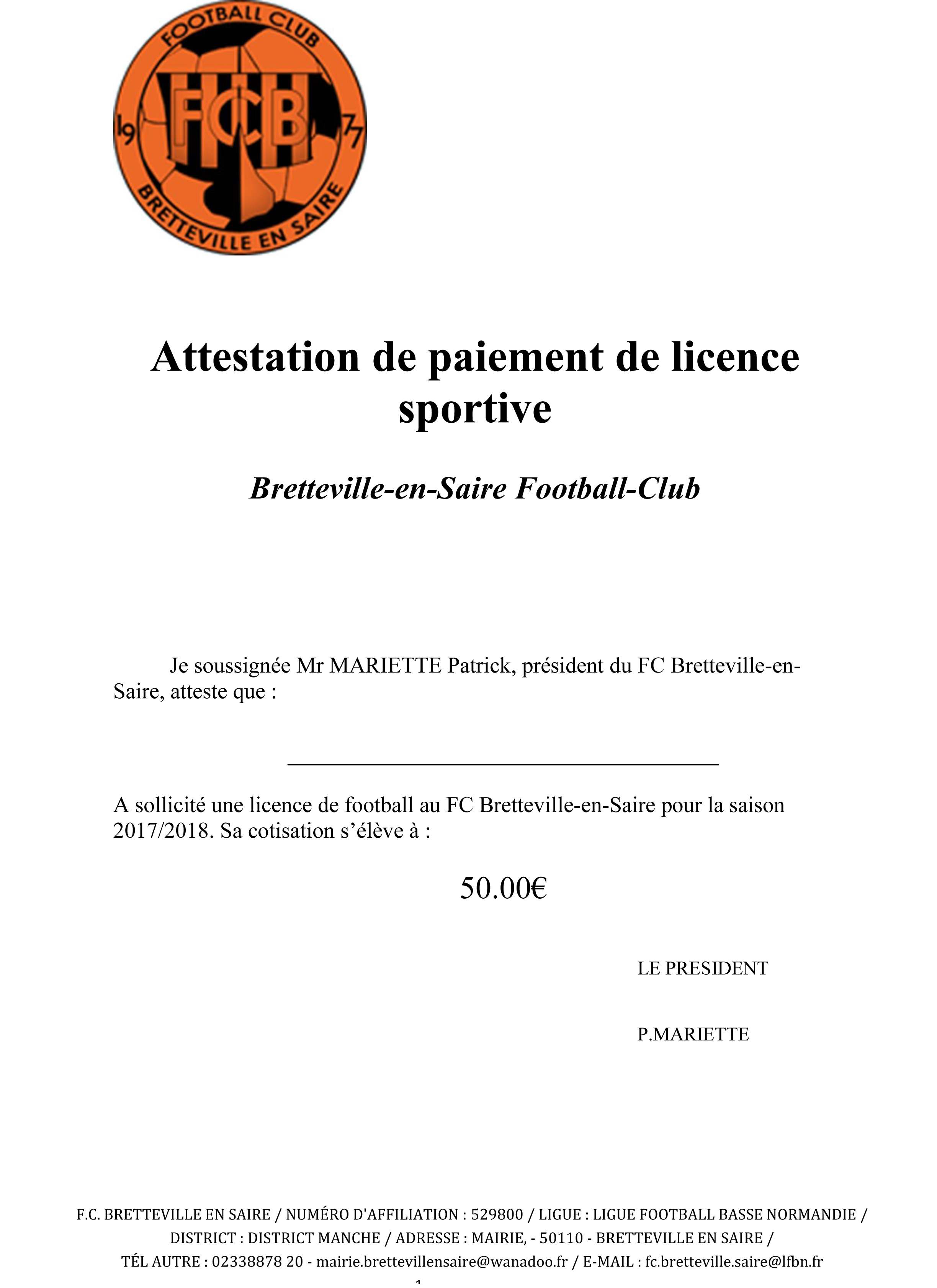 exemple facture licence sportive