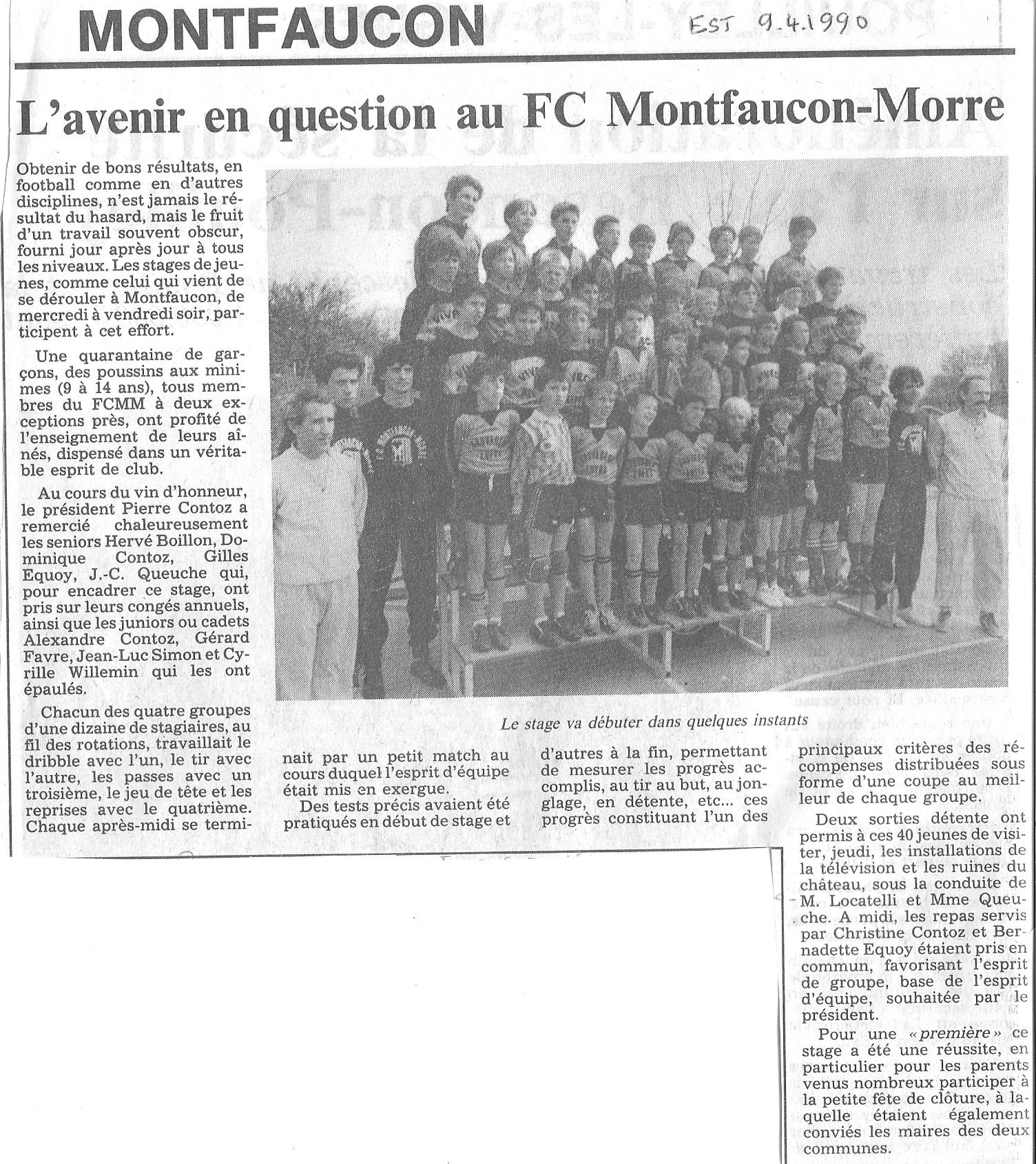 09/04/1990 - L'avenir en question au FC Montfaucon - Morre