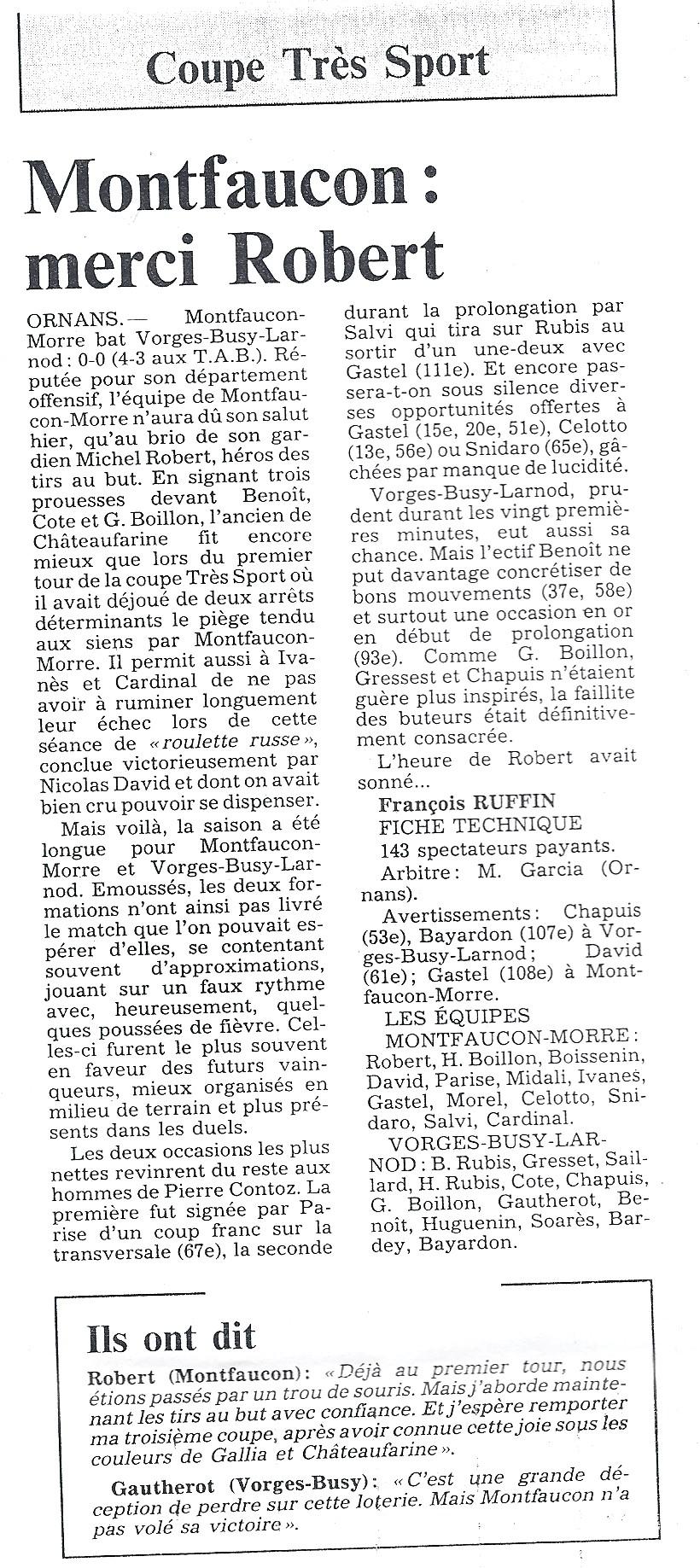 06/1991 - Coupe Très Sport - Merci ROBERT