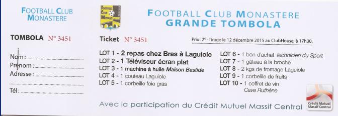 Tombola du FC Monastère