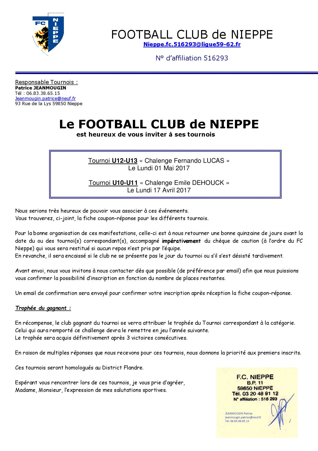 Invitation et fiche d 39 inscription club football fc for D et co inscription