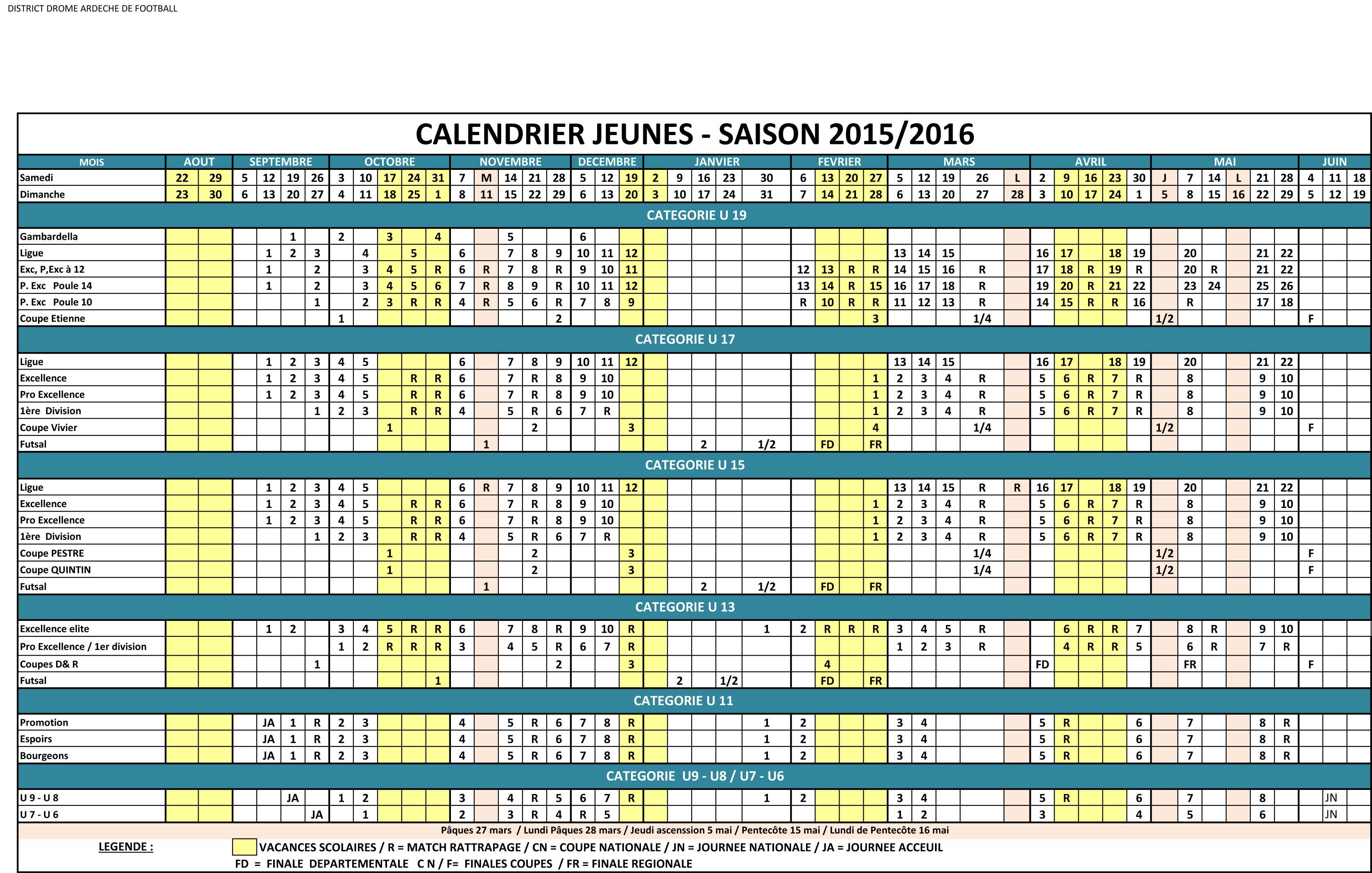 Actualit calendrier des jeunes 2015 2016 club football fr allan football footeo - Calendrier des salons 2015 ...