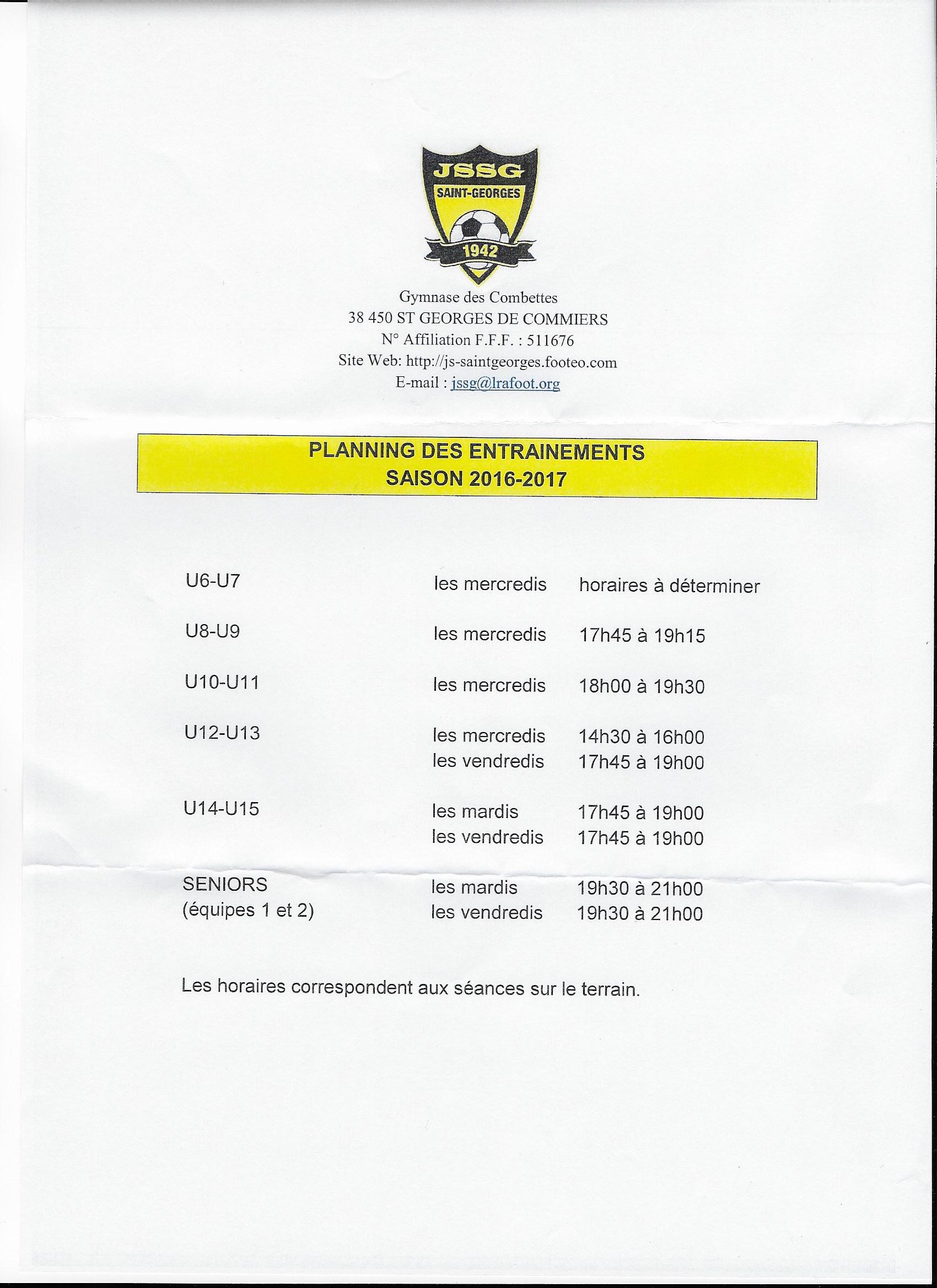 Planning des entrainements 2016-2017