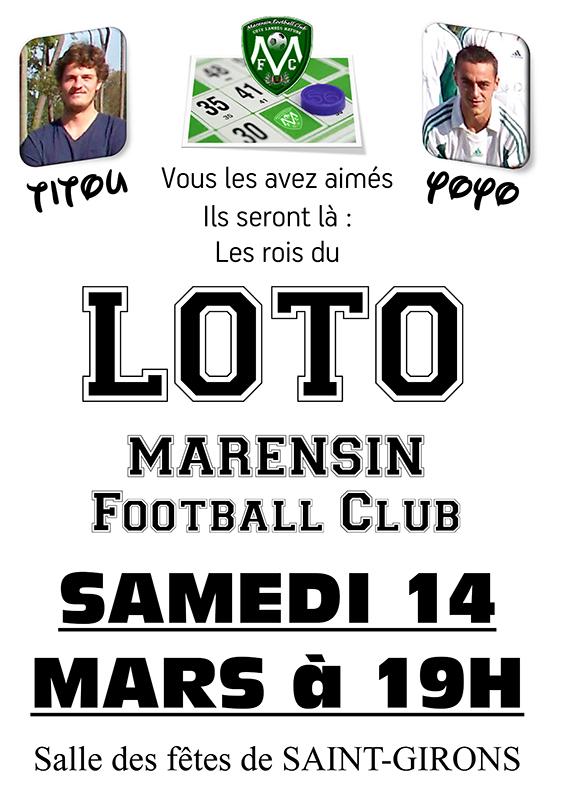 loto marensin foot vielle saint girons 14 mars 2014
