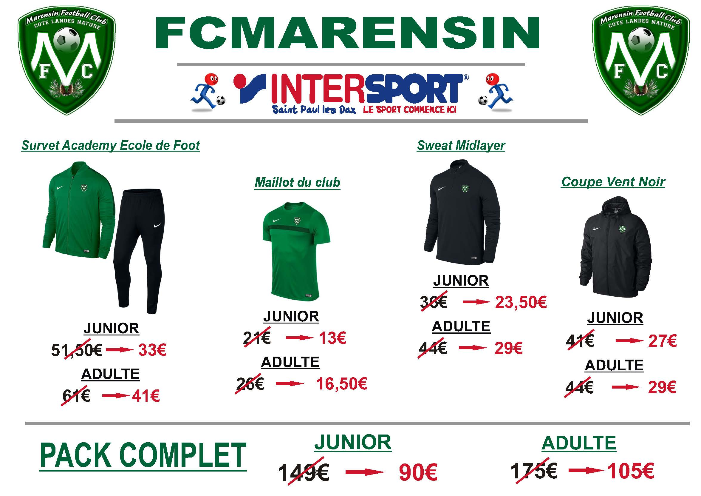 Tenues Officielles MARENSIN Football Club
