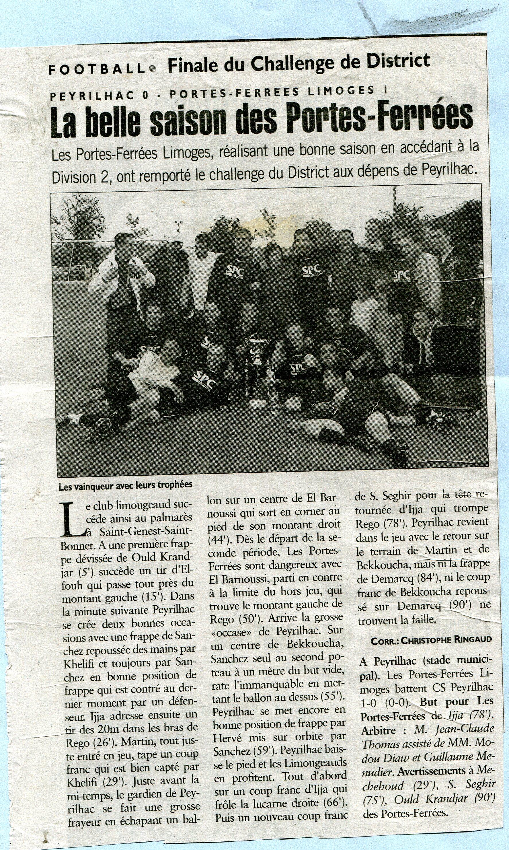 ARTICLE DU CHALLENGE DU DISTRICT 2007/2008
